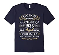 Legends Were Born In October 1936 84th Birthday Gifts T-shirt Navy