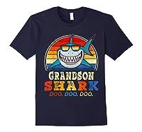 Vintage Grandson Shark T-shirt Birthday Gifts For Family Navy