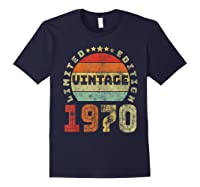 50th Birthday Gifts Retro Vintage 1970 Limited Edition T-shirt Navy
