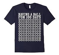 Soccer Ball 100 Days Of School Shirt Player Tea Boy Gift Navy