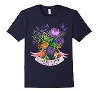 Plant Lady Shirt Gardening Gift Watercolor Flower Garden T-shirt Navy