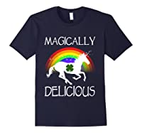Magically Delicious Unicorn St Patrick's Day Ns Shirts Navy