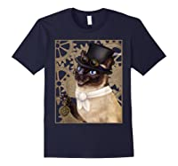 Steampunk Cat - Siamese With A Top Hat, Goggles, And Gears T-shirt Navy