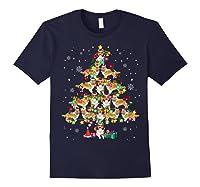 Shetland Sheepdog Christmas Tree Funny Sheltie Christmas T-shirt Navy