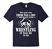 Once Upon A Time Boy Loved Wrestling T Shirt Navy