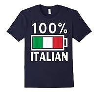 Italy Flag T Shirt 100 Italian Battery Power Tee Navy