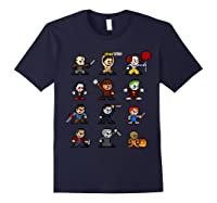 Friends Pixel Halloween Icons Scary Horror Movies T Shirt Navy