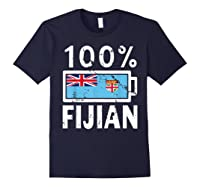 Fiji Flag T Shirt 100 Fijian Battery Power Tee Navy