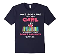 Funny There Was A Girl Who Really Loved Books Dogs Librarian Premium T Shirt Navy