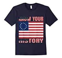 Betsy Ross Flag 1776 Vintage American Know Your History T Shirt Navy