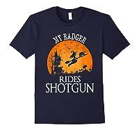 Badger Rides Shotgun Animal Lover Halloween Party Gift Shirts Navy