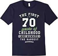70th Birthday Funny Gift Life Begins At Age 70 Years Old T-shirt Navy