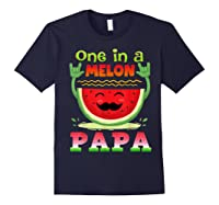 One In A Melon Papa Shirt Funny Watermelon Tee Navy