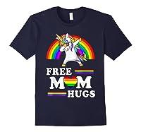 Free Mom Hugs Unicorn Lgbt Pride Rainbow Gift Shirts Navy