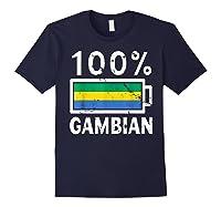 Gambia Flag T Shirt 100 Gambian Battery Power Tee Navy