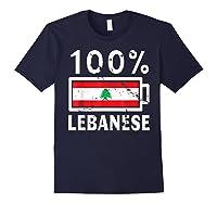 Lebanon Flag T Shirt 100 Lebanese Battery Power Tee Navy