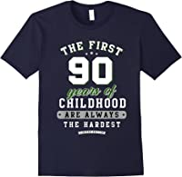 90th Birthday Funny Gift Life Begins At Age 90 Years Old T-shirt Navy