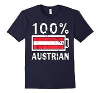 Austria Flag T Shirt 100 Austrian Battery Power Tee Navy