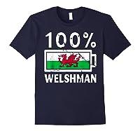 Wales Flag T Shirt 100 Welshman Battery Power Tee Navy
