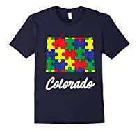 Autism Awareness Day Colorado Puzzle Pieces Gift Shirts Navy