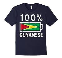 Guyana Flag T Shirt 100 Guyanese Battery Power Tee Navy