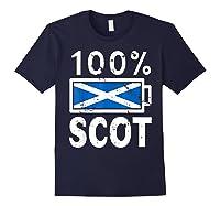 Scotland Flag T Shirt 100 Scot Battery Power Tee Navy