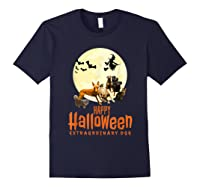 Happy Halloween With Extraordinary Dogs And Cats T Shirt Navy
