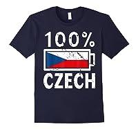 Czech Republic Flag Shirt 100 Czech Battery Power Tee Navy