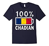 Chad Flag T Shirt 100 Chadian Battery Power Tee Navy