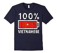 Vietnam Flag T Shirt 100 Vietnamese Battery Power Tee Navy