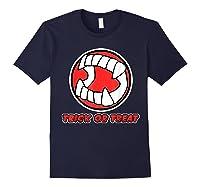 Funny Creepy Halloween Vampire Tooth Trick Treat Shirts Navy