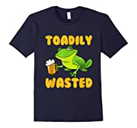 Funny Frog Drink Beer Toadily Wasted Beer Party Gift T Shirt Navy