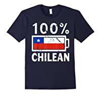 Chile Flag T Shirt 100 Chilean Battery Power Tee Navy