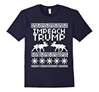 Impeach Trump Christmas T Shirt Anti Trump Holiday Wear Navy