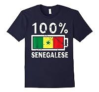 Senegal Flag T Shirt 100 Senegalese Battery Power Navy