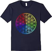 Blume Des Lebens Heilige Geometrie Spirituell Zen Yoga T-shirt Navy