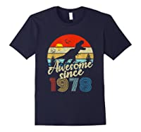Dinosaur 41st Birthday Gifts Awesome 1978 41 Yrs Old Shirts Navy