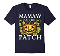 Mamaw Of The Patch Pumpkin Halloween Costume Gift Shirts Navy