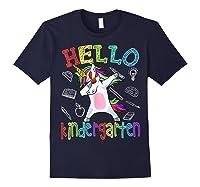 Hello Kindergarten Unicorn Tshirt Funny Back To School Gift Navy