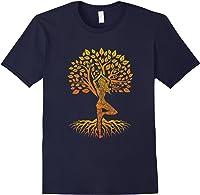 Da Baum Des Lebens With Woman Yoga T-shirt Chakra Haka Yoga T-shirt Navy