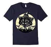 Vintage Scary Halloween Black Cat Witch Hat Moon Pumpkin Bat T Shirt Navy