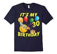 Funny Emoji It's My 30th Birthday 30 Years Old Shirts Navy