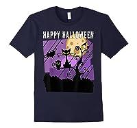 Spoopy Funny Halloween Black Cat Witch Hallow S Eve Joke T Shirt Navy