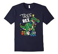 Tree Rex Dinosaur Christmas Gift T Rex Pajamas Xmas Premium T-shirt Navy
