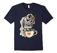 Cute Owl Cartoon Bird Hand Draw T Shirt Design Navy