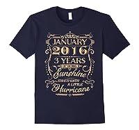 August 2016 - 3 Years Of Being Sunshine Birthday Shirt Navy