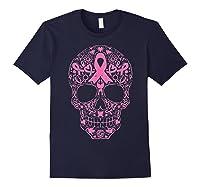 Sugar Skull Pink Ribbon Calavera Breast Cancer Awareness T Shirt Navy