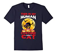 Cat Funny Halloween T-shirt For Girls Adults Navy
