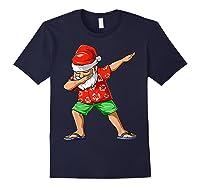 Dabbing Santa Christmas In July Party Hawaiian Santa Beach Shirts Navy