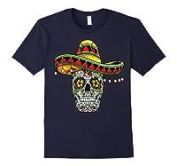 Day Of The Dead Sugar Skull Funny Cinco De Mayo T Shirt Navy